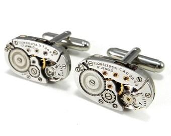 Steampunk Cufflinks - QUALITY SOLDERED Vintage Watch Movement Cuff Links - ELGIN - Mens Wedding Anniversary Gift