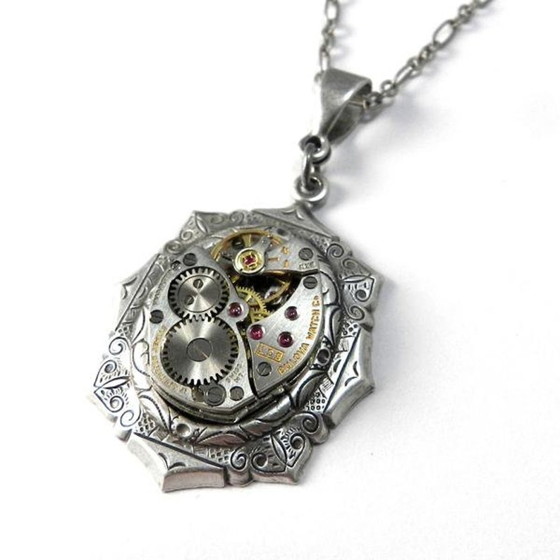 a18a8589b0c Steampunk Watch Necklace Petite Clockwork Necklace Antique