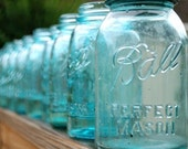 10 Vintage BLUE Ball Mason Jars