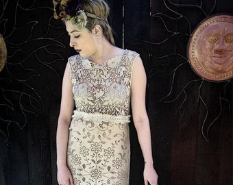 Vintage Lace Wedding Dress, Unique Wedding Dress, OOAK Wedding Dress, Eco Wedding, Bohemian Wedding, Free US Ship