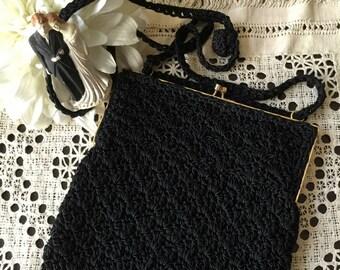 Vintage 1970's ADG Black Crochet Shoulder Bag, Black Crochet Wedding Bag, Black Bridal Bag, Something Old