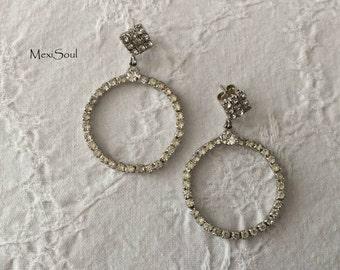 Vintage 1960's Round Rhinestone Earrings, Vintage Wedding Jewelry, Something Old, Retro Bride, Vintage Rhinestone Earrings