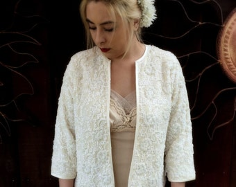 Vintage 1950's Cream Beaded and Lace Sweater, Vintage Buffums' Sweater, Retro Bridal Sweater, Vintage Bride
