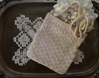 Vintage 1970's Crochet HandBag, Vintage Walbarg Ivory Crochet Purse, Vintage Bridal Purse