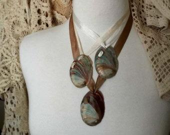 Bridal Shell Necklace, Beach Wedding, Bohemian Bride, Shell Necklace, Natural Shell Jewelry