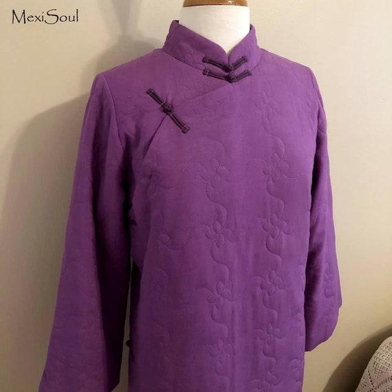 Vintage 1980's Purple Quilted Asian Dress, Designe