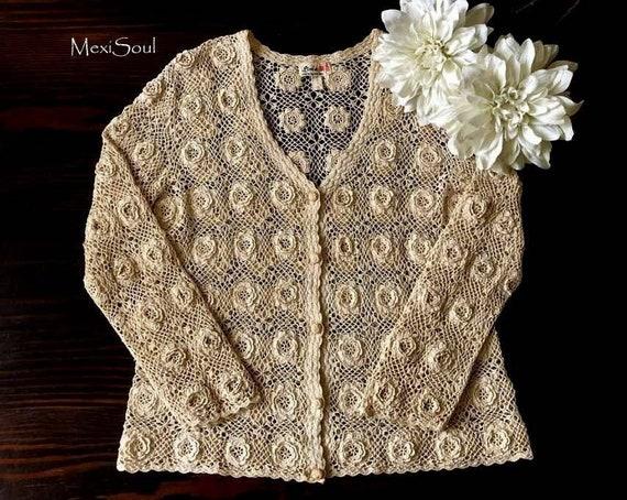 Vintage 1960's Crochet Sweater, Tea Dyed Vintage C