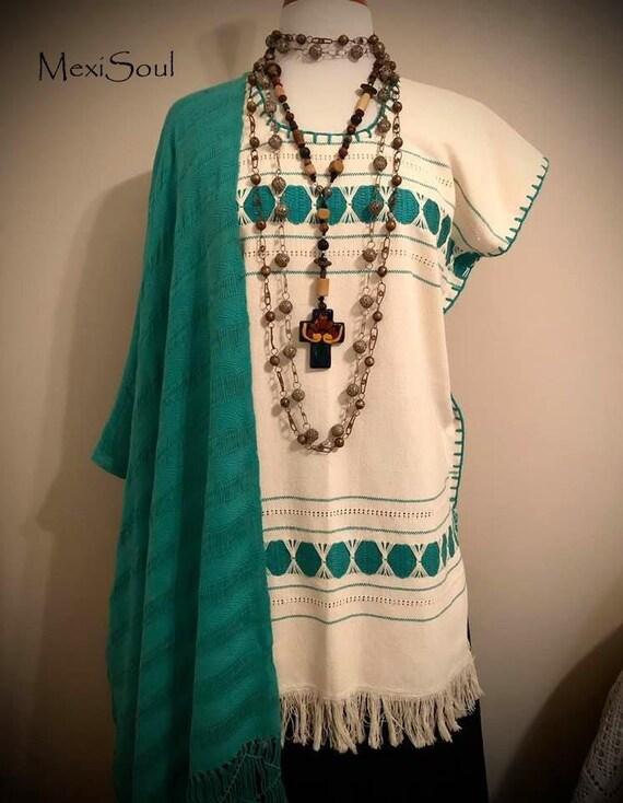 Mexican Woven Huipil Dress, Huipil Tunic Dress/Eth