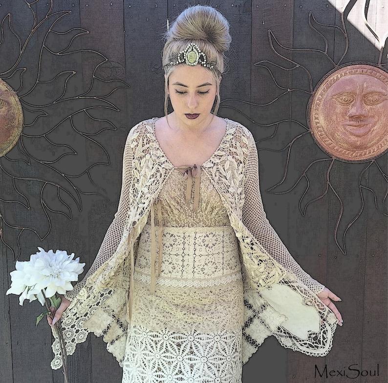 Bohemian Chic Sweater Free US Ship OOAK Design Alternative Bridal Wear Designer Sweater Tea Dyed Bridal Duster