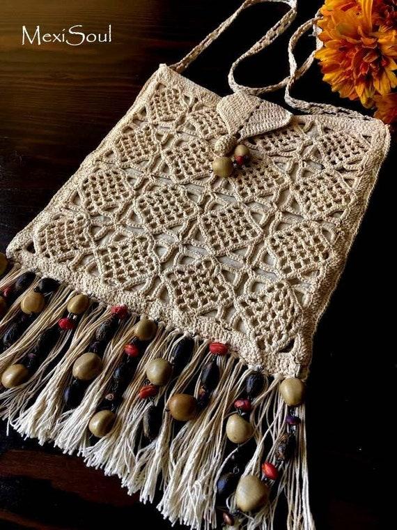 Vintage 1970's Crochet Shoulder Bag, Re*styled Vin