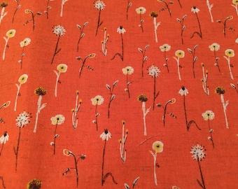 Heather Ross Kokka Far Far Away 3 Meadow Flowers in Orange/Red FQ