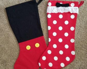 Mickey and Minnie Christmas Stockings Disney Inspired