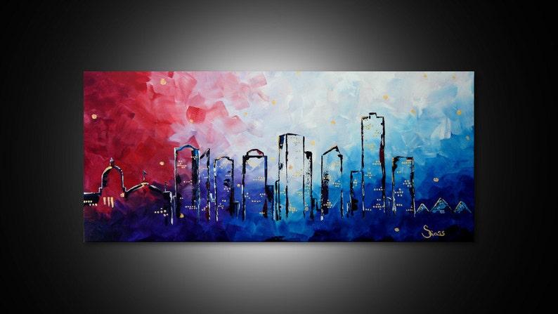 City Skyline Art Painting Edmonton City Skyline Wall Art Alberta Skyline Cityscape Wall Art Canvas Print Edmonton Office Art Decor