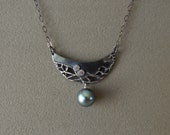 Oxidized fine silver with...