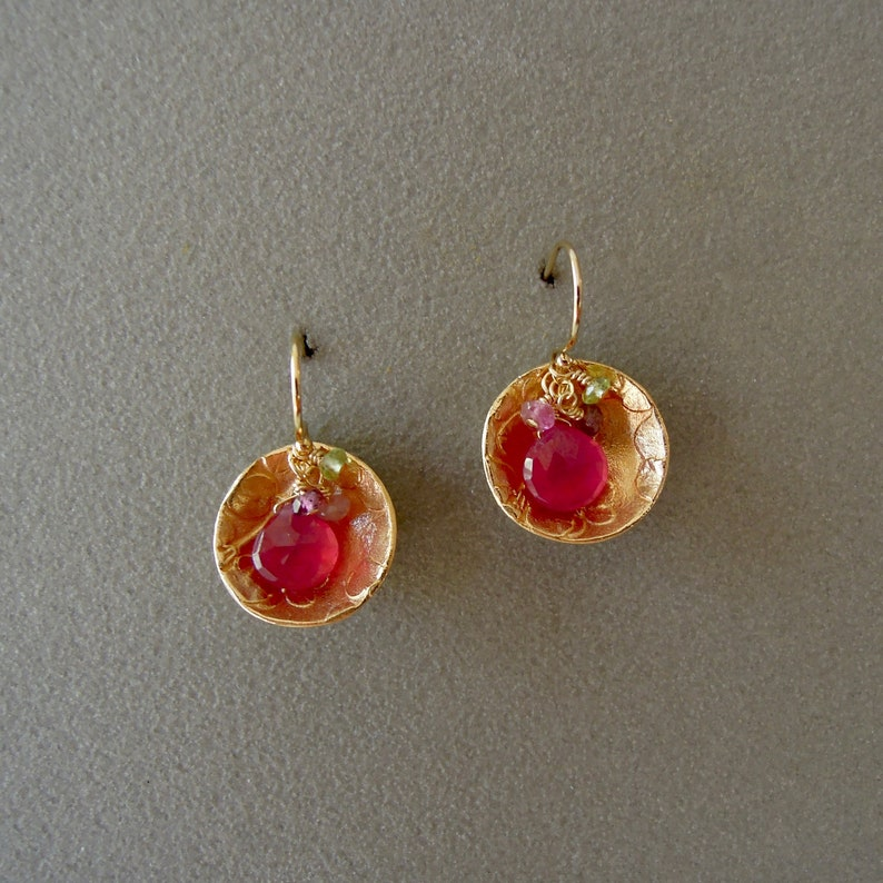 Golden bronze earring with rubies peridot and tourmaline image 0