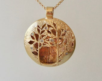 Enchanted Forest 3-D Golden Bronze Necklace