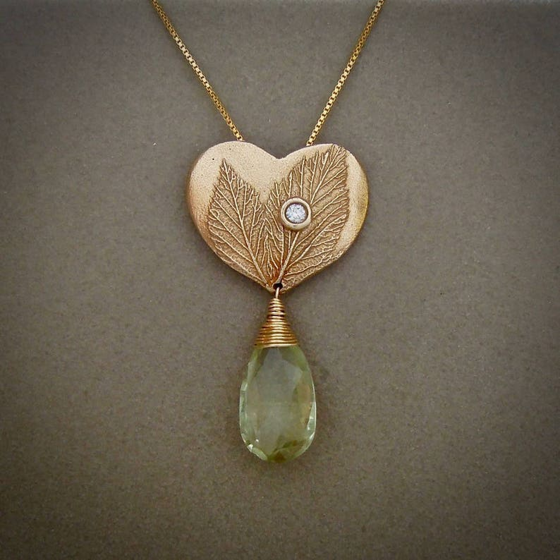 Heart Pendant with Green Amethyst image 0