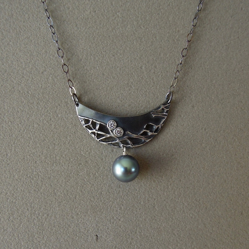 Oxidized fine silver with Tahitian pearl image 0
