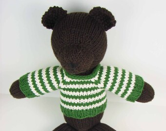 Teddy in a Striped Sweater- dark brown bear with green and white sweater