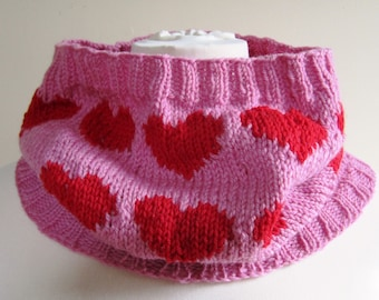 Heart Cowl Scarf Neck Warmer Wool Hand Knit Red Pink Valentines Day - Size Medium