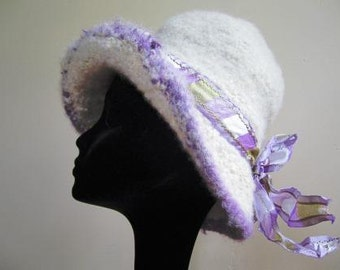 Clearance- Cloche Hat Felted Ladies Hand Knit Wool Flapper 20s Downton Abbey - Size Medium