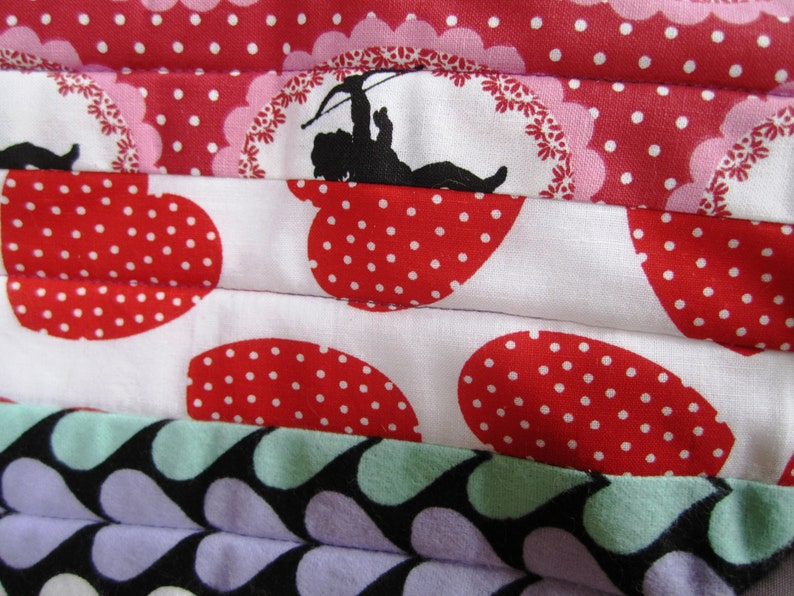 Heart Pot Holders Valentines Day Hot Pads Patchwork Quilted Set of Two \u2013 11.5 x 9 Inches
