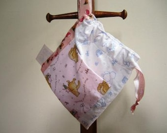 Drawstring Baby Bag Winnie the Pooh Diaper Cotton School Flannel - Size Small