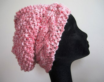 Beret Beanie Hat Cap Hand Knit Chunky Cable Wool Pink Winter Ladies - Size Medium