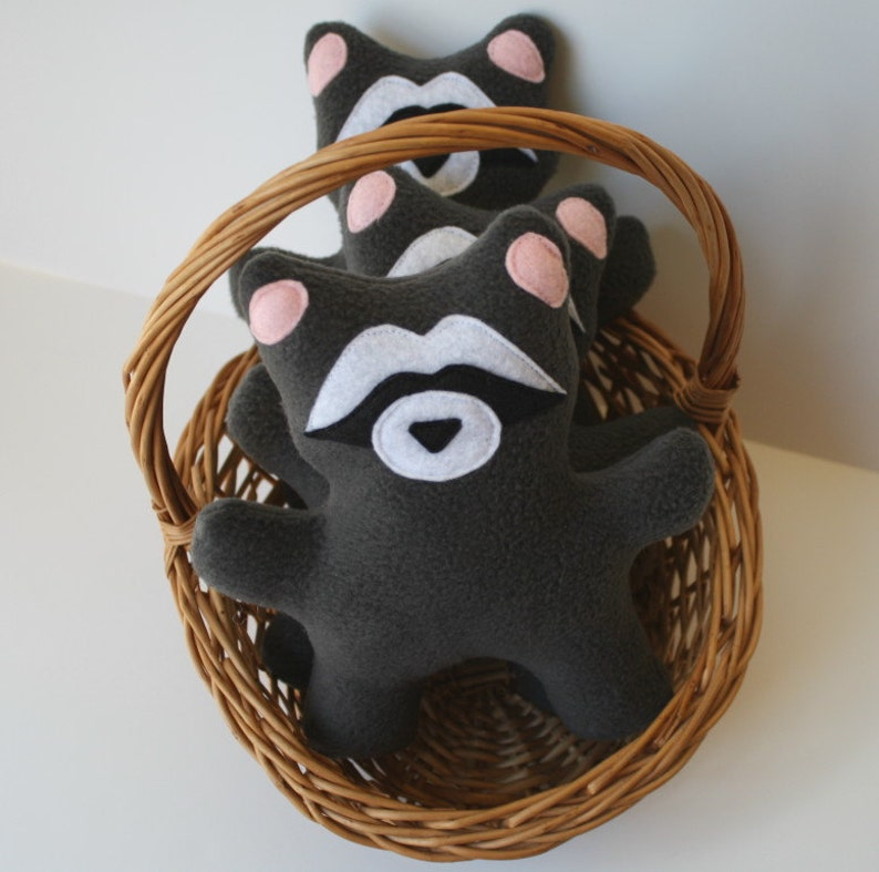 Dog Toy Raccoon fleece dog toy with squeaker stuffed dog image 0
