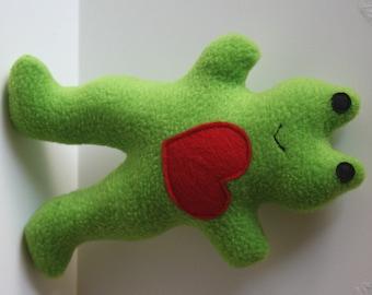 Dog Toy- Froggie Squeaky Fleece Dog Toy- handmade pet toy, stuff dog toy, pug toy, small dog toy, stuffed dog toy, dog chew toy, soft toy