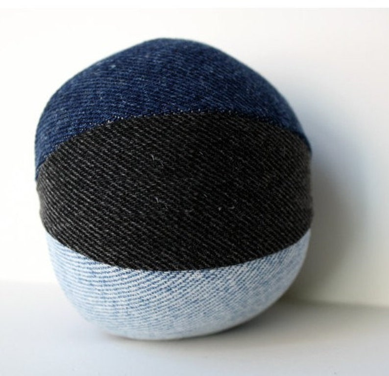 Dog Toy Stuffed Medium Denim Dog Ball Toy recycled image 0