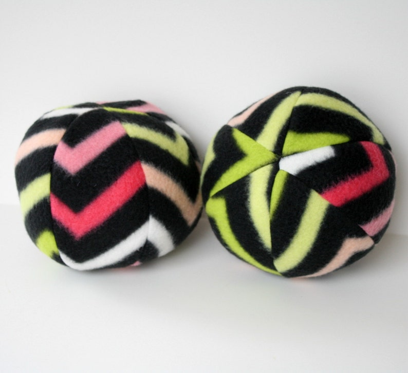 Dog Toy Ball Extra Large Black Pinks Green Chevron-big dog image 0