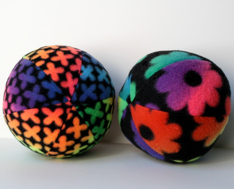 Dog Toy Ball Extra Large Rainbow Flowered Fleece image 0