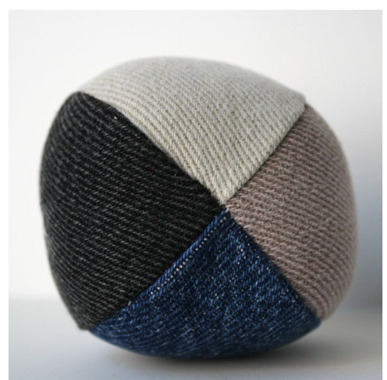 Dog Toy Small Stuffed Denim Dog Ball Toy recycled reclaimed image 0