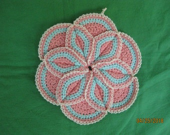 Hand crocheted Potholder hotpad Coral Rose and Beach Glass with CreamLace 10 inches
