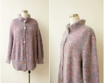 1980s Womens Cardigan Sweater Plus Size Sweater Oversize Sweater Pastel Lilac Mohair Sweater Hand Knitted Cozy Cardigan
