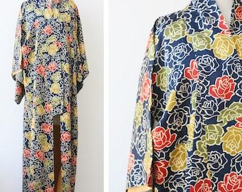 Vintage silk Kimono robe, Japanese mid-century floral kimono dressing gown