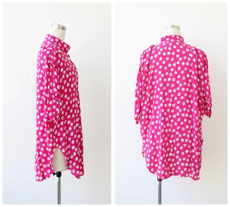 1980s Vintage Oversized Blouse Plus Size Fuchsia Pink Print Button Front Tunic Top XXL