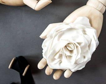 One flower brooch, Fabric handmade flowers, pin / White, Ivory white