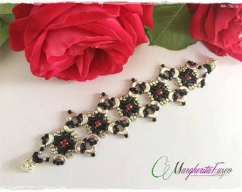 Margherita bracelet tutorial with minos and arcos beads. Bead pattern
