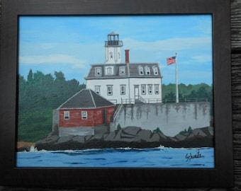 "Rose Island Lighthouse, Newport, RI., 11""h x 14""w"