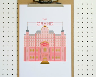SALE Grand Budapest Hotel Inspired Print A4 Poster Pink on White Minimalist Fan Art