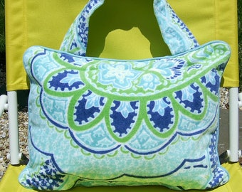 Pillow Beach Pillow Travel Pillow Paisley Blue and Lime Green