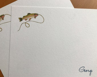 Rainbow Trout, Flat Note Card, Personalized Set, Fly Fisherman, Angler Gift, Thank You Notes, Thinking of You, Stationery, Name, Initials