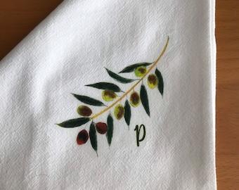 Olive Napkins, Personalize, Cotton Flour Sack, Napkin Set of 2, Olive Theme Hostess Gift, Charcuterie Theme, Tuscany, Olive Oil Gifting