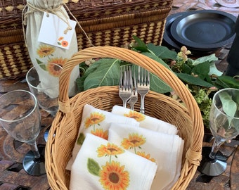 Sunflower Napkins, Flour Sack Cotton, Napkins Set of 2, Fall Napkins, Thanksgiving & Halloween Napkins, Autumn Decor, Garden theme