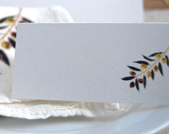 Olive Name Cards, Seating Cards, Personalized Cards, Blank Party Cards, Tented Cards, Table Decor, Tuscany,Vineyard Event