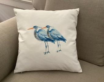 Heron Pillow, Throw Pillow, Audubon, Marsh Decor, Coastal living, Beach house, Shore Bird, Beach decor, Decorative Pillow, Heron Art