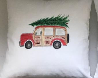 Woodie Christmas Wagon Pillow, Throw Pillow, Holiday Decor, Festive Holiday home