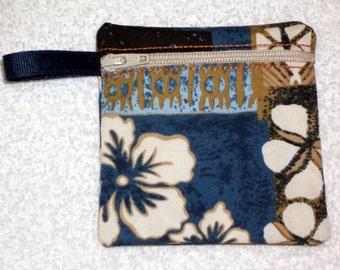 Handmade -  Hawaiian Print zippered pouch -  Gift Card Holder - free shipping